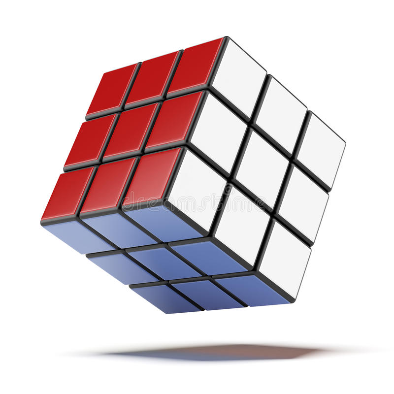 3D rubik立方体 皇族释放例证