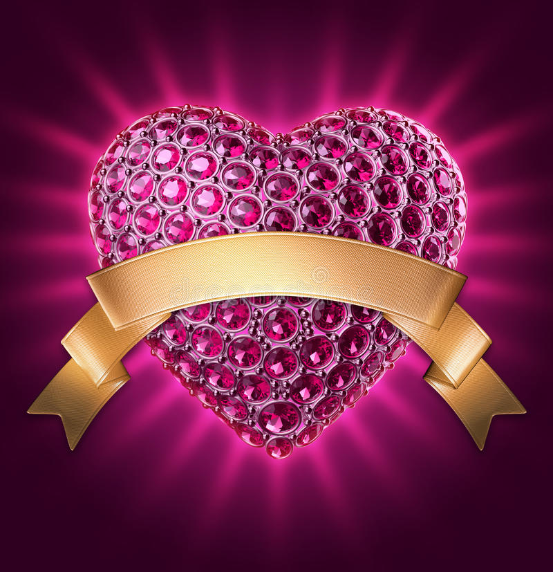 3d Ruby Jewelry Heart Symbol With Gold Ribbon Stock