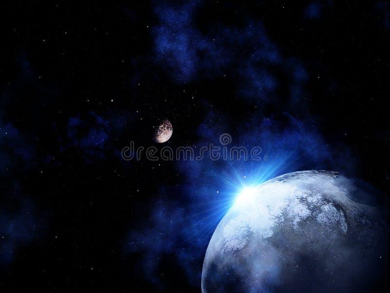 3D ruimtescène met licht die van achter een fictieve planeet glanzen stock illustratie