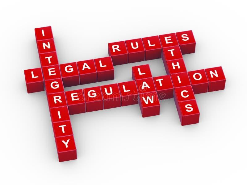 3d rules crossword stock illustration