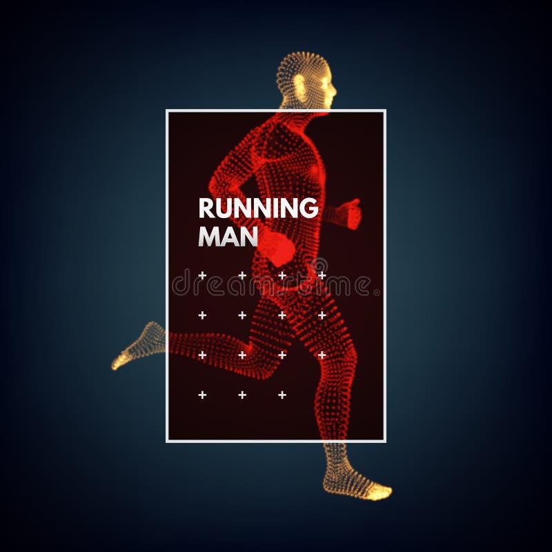 3d running man. Design for sport. Vector illustration. Human body. 3d running man. Design for sport, business, science and technology. Vector illustration stock illustration