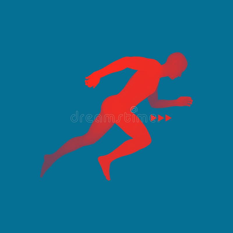 3d Running Man. Design for Sport, Business, Science and Technology. Vector Illustration. Human Body.  vector illustration