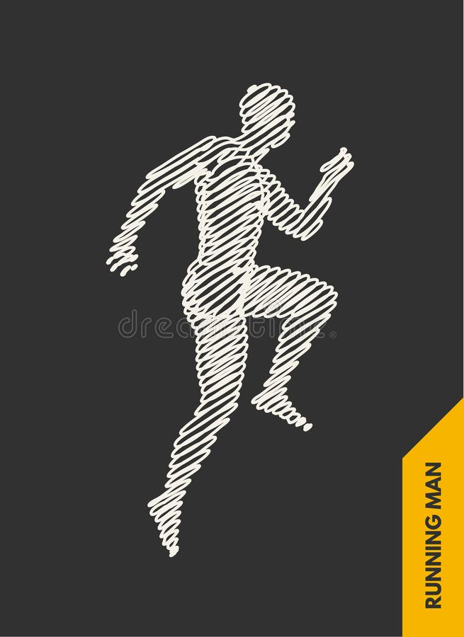 3d running man. Design for sport, business, science and technology. Vector illustration. Human body.  stock illustration