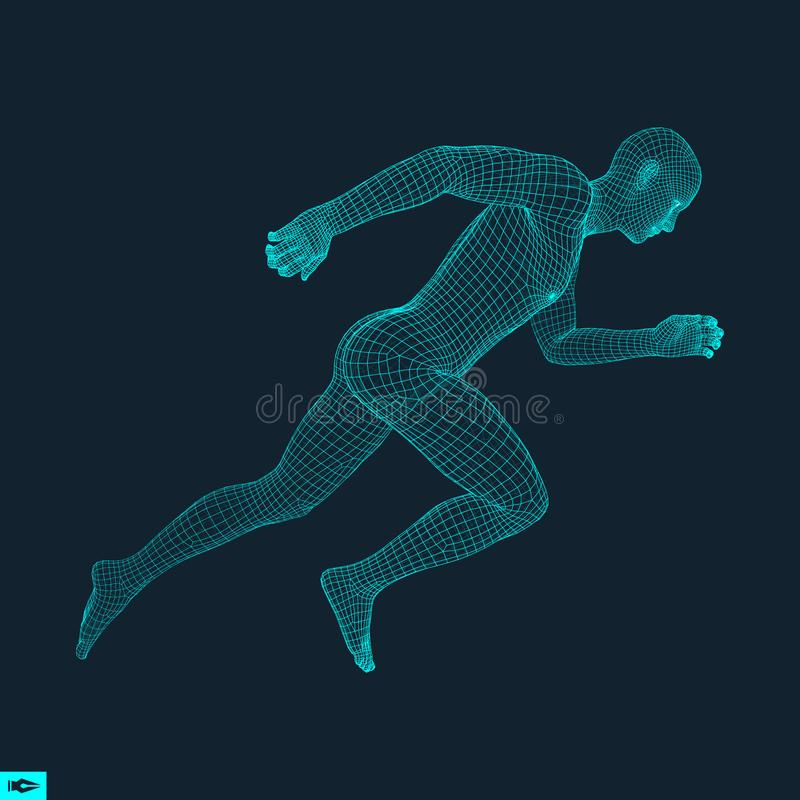 3d Running Man. Design for Sport, Business, Science and Technology. Vector Illustration. Human Body.  royalty free illustration