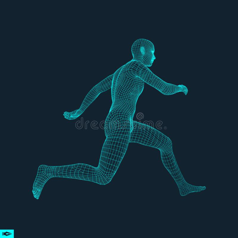 3d Running Man. Design for Sport. Human Body. 3d Running Man. Design for Sport, Business, Science and Technology. Vector Illustration. Human Body royalty free illustration