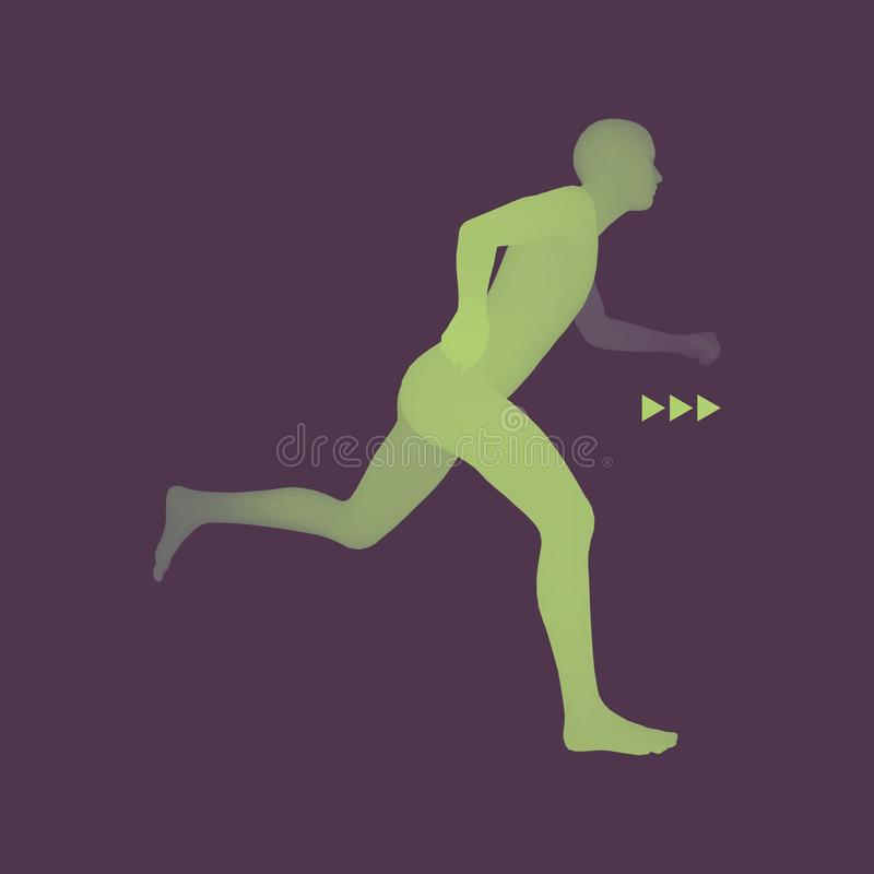 3d Running Man. Design for Sport. Human Body Model. 3d Running Man. Design for Sport, Business, Science and Technology. Vector Illustration. Human Body vector illustration
