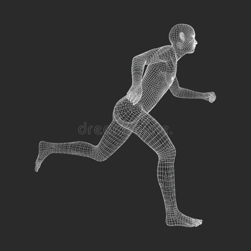 3d Running Man. Human Body Wire Model. Sport Symbol. Low-poly Man in Motion. Vector Geometric Illustration royalty free illustration
