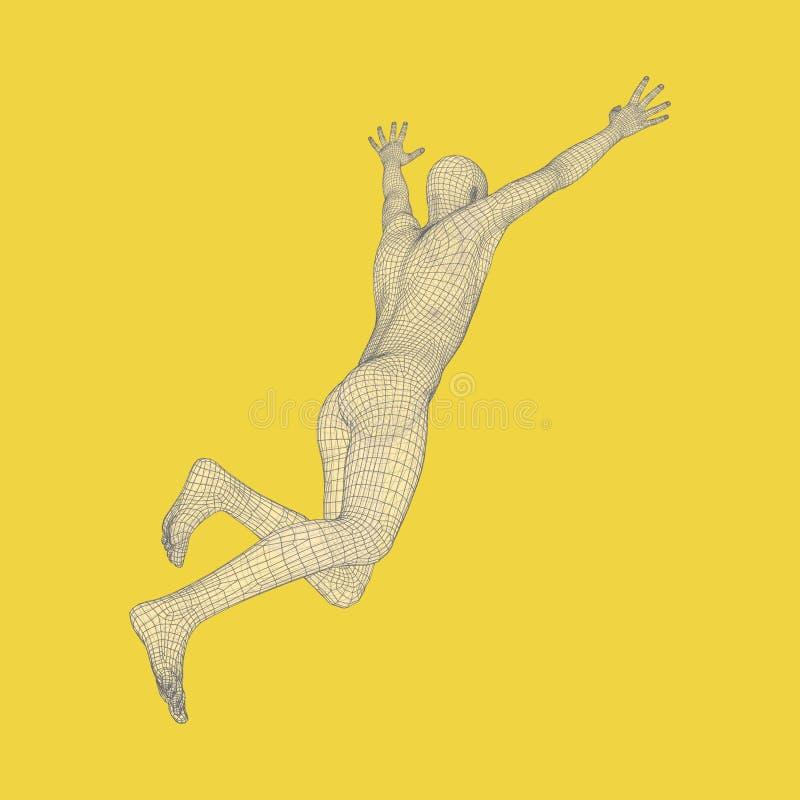 3d Running Man. Human Body Wire Model. Sport Symbol. Low-poly Man in Motion. Vector Geometric Illustration stock illustration