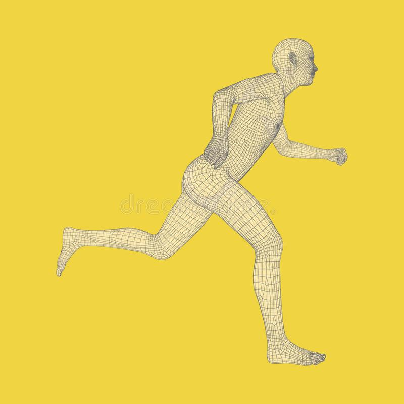 3d Running Man. Human Body Wire Model. Sport Symbol. Low-poly Man in Motion. Vector Geometric Illustration vector illustration