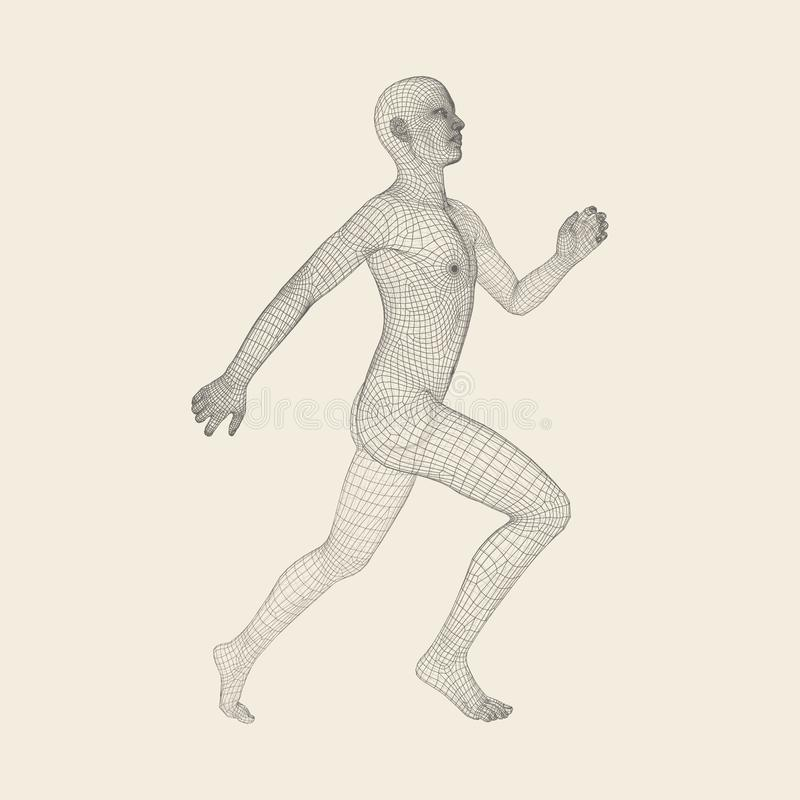 3d Running Man. Human Body Wire Model. Sport Symbol. Low-poly Man in Motion. Vector Geometric Illustration.  stock illustration