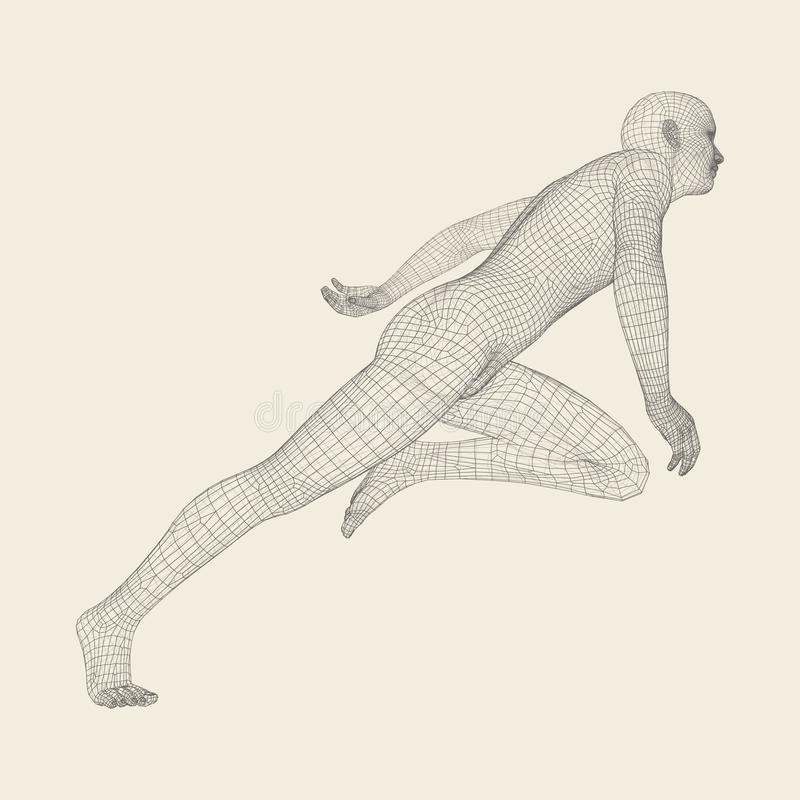3d Running Man. Human Body Wire Model. Sport Symbol. Low-poly Man in Motion. Vector Illustration. 3d Running Man. Human Body Wire Model. Sport Symbol. Low-poly stock illustration