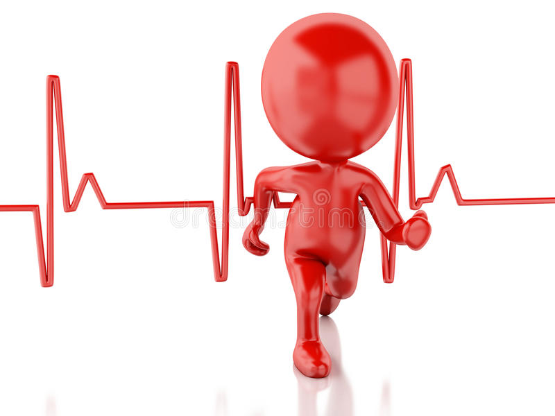 3d running people with heartbeat. Medical concept stock illustration