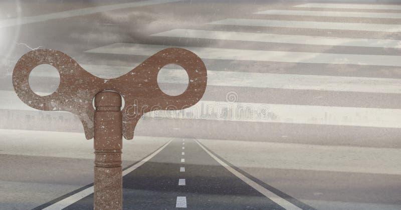 3D Rustic Key over road vector illustration