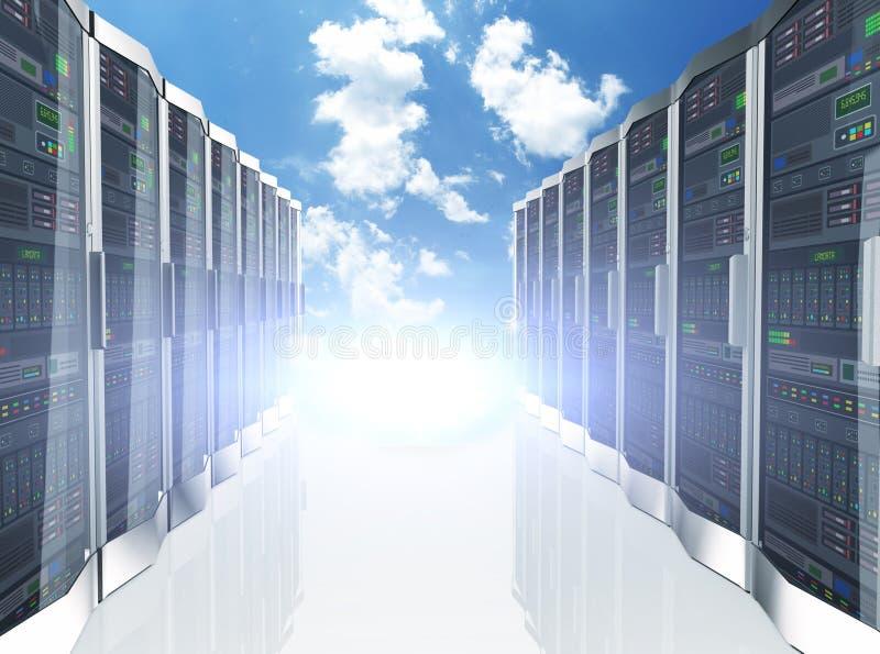 3d rzędów sieci serwerów datacenter na niebo chmury tle royalty ilustracja