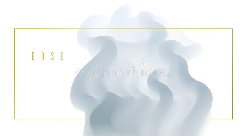 3D rzadkopłynnego gradientowego koloru wektorowy abstrakcjonistyczny tło, dimensional dynamiczny kształt w ruchu, płynie kolory p ilustracji