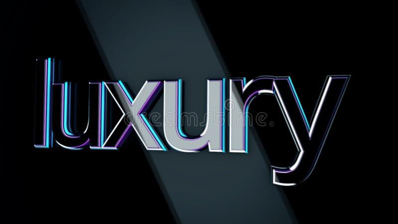 3D słowa luksusowy poruszający na czarnym tle z szerokimi promieniami światło Pojemności, purpur i błękita szyldowy luksusowy cho ilustracji
