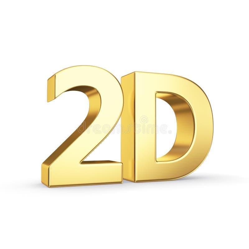 2D símbolo dourado isolado no branco ilustração royalty free