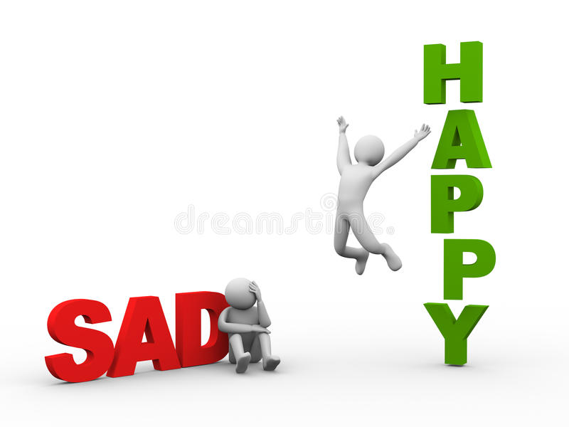 3d sad man and happy person royalty free illustration