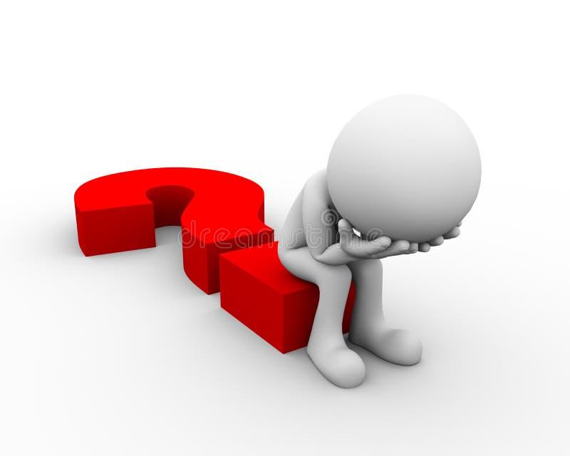 3d sad man sitting on question mark stock illustration question mark clip art free question mark clip art black