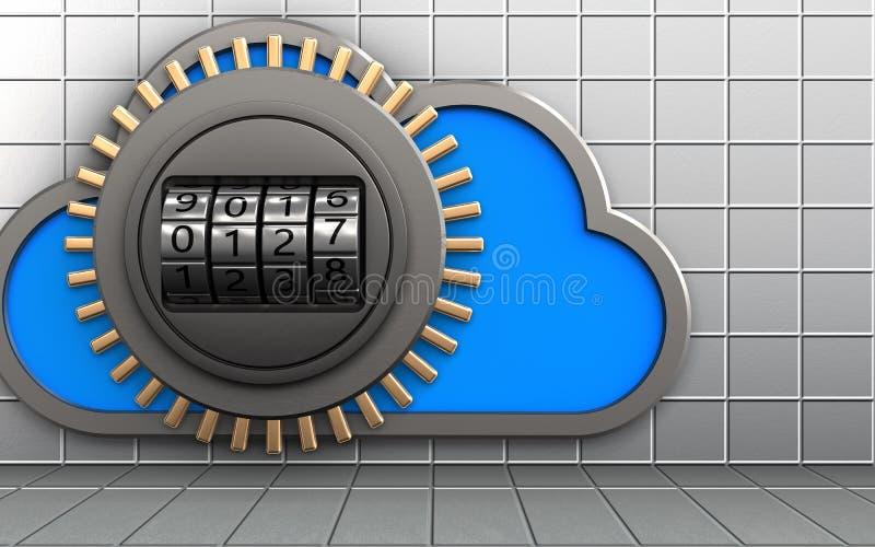 3d safe cloud vector illustration