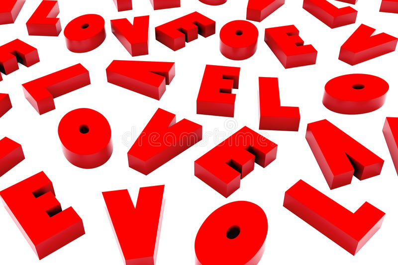 3d Saint Valentine Love Background. Illustration featuring 3d backdrop made of red computer rendered letters L O V E scrambled perspective replicated isolated royalty free illustration