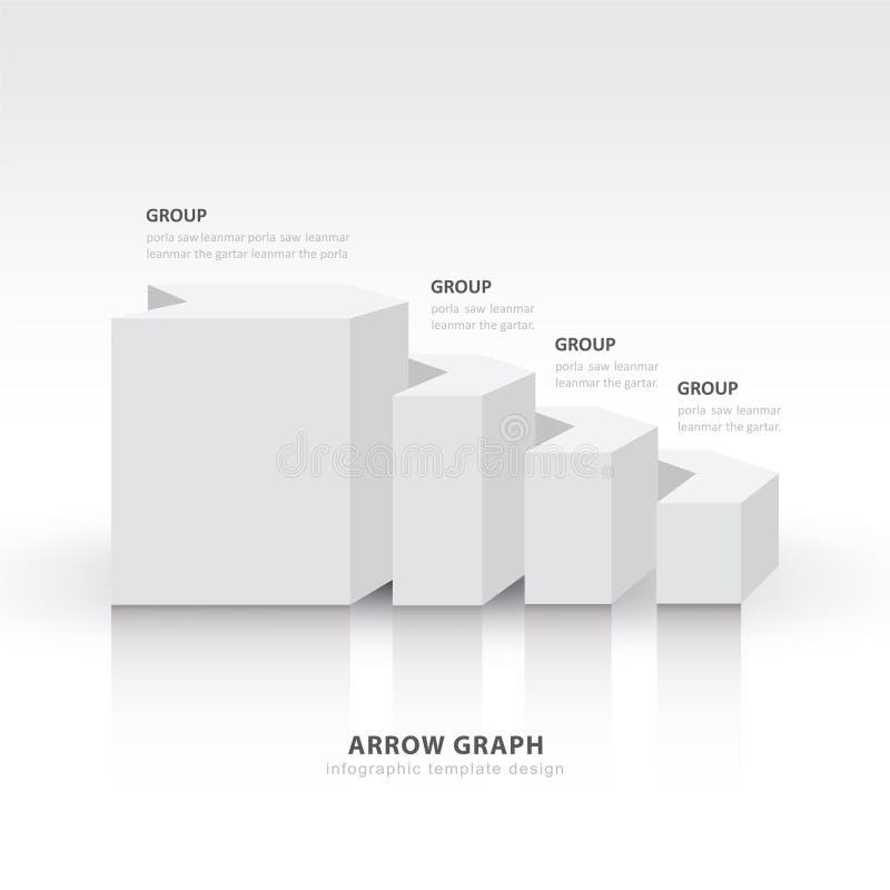 3d saldo het diagram van de van de bedrijfs pijltrap stap witte kleur stock illustratie