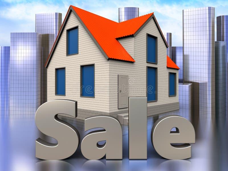3d sale sign over city. 3d illustration of cottage house with sale sign over city background royalty free illustration