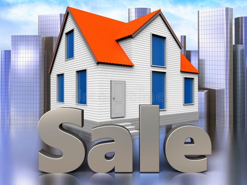 3d sale sign over city. 3d illustration of house with sale sign over city background vector illustration
