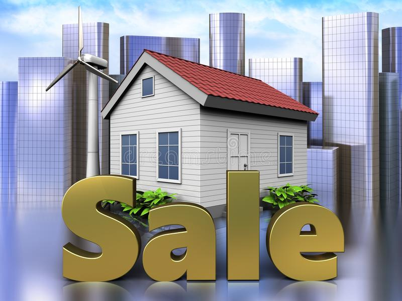 3d sale sign over city. 3d illustration of wind energy house with sale sign over city background stock illustration