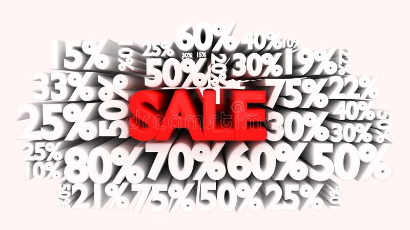 3D Sale word and percentage signs royalty free illustration