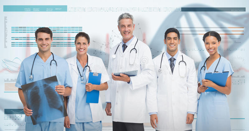 3D Samengesteld beeld van portret van zeker medisch team stock fotografie