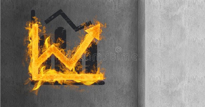3d samenstelling van grafiek van brand tegen grungy concrete muur wordt gemaakt die royalty-vrije illustratie