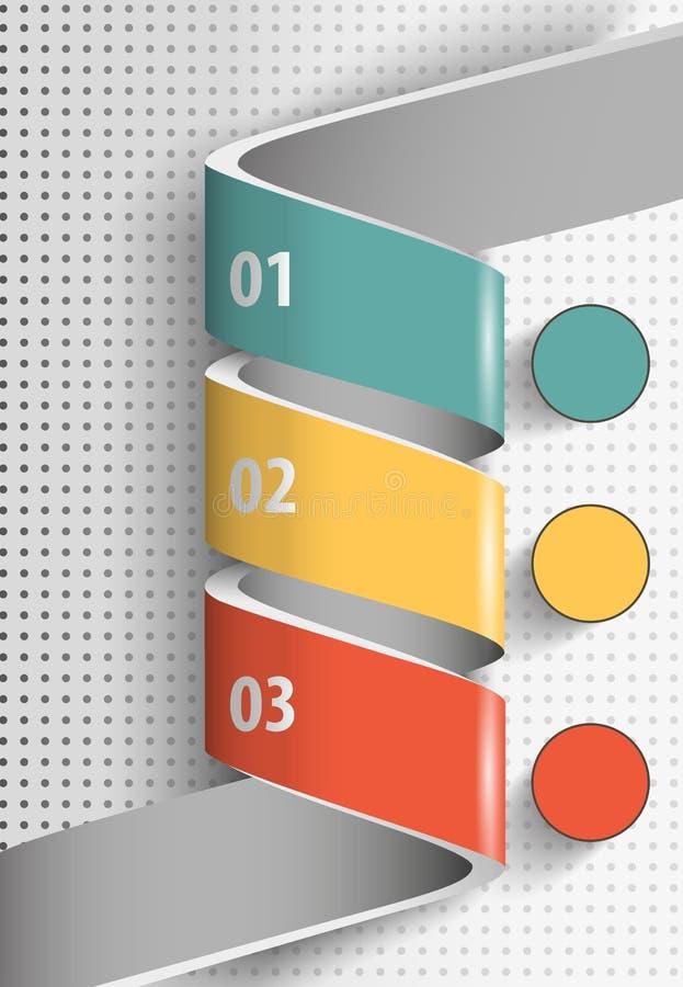 3d samenvatting verdraaide infographics van het lintontwerp stock illustratie