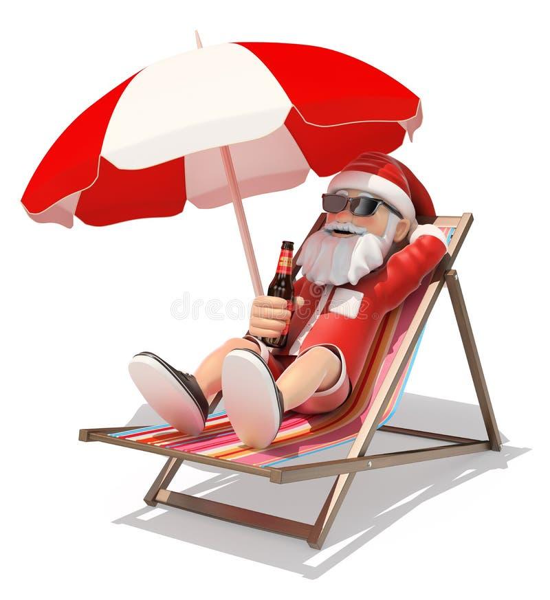 3D Santa Claus che prende il sole sulla spiaggia royalty illustrazione gratis