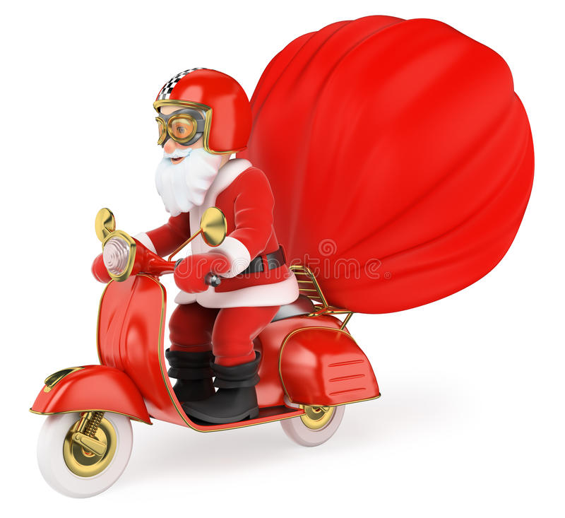 3D Santa Claus delivering gifts by motorcycle. 3d christmas people illustration. Santa Claus delivering gifts by motorcycle. White background vector illustration
