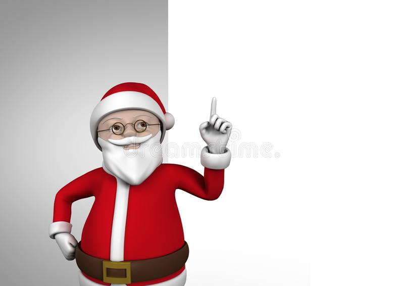 3D Santa claus figurine with hand pointing up vector illustration