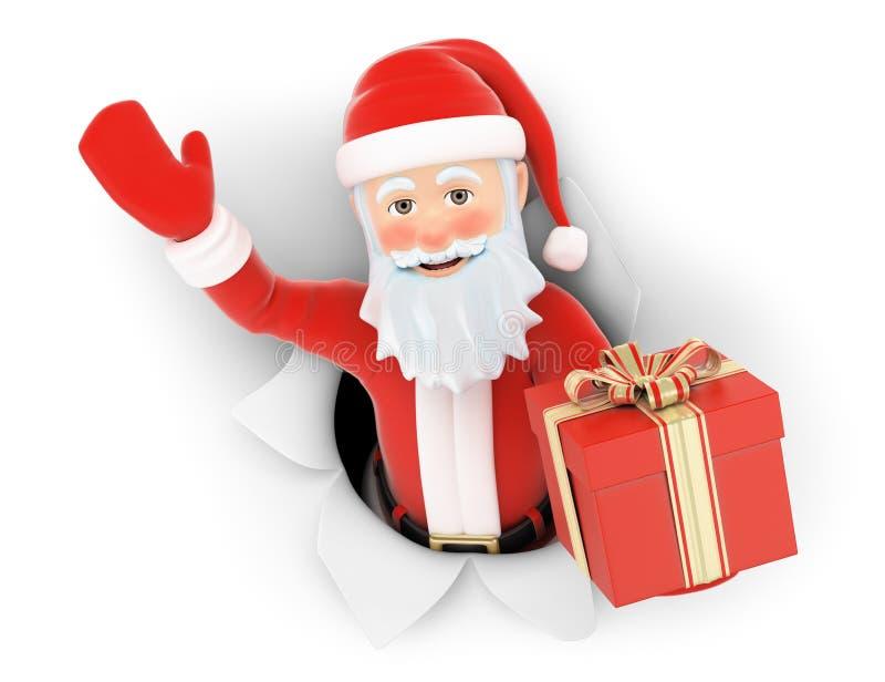 3D Santa Claus laissant un trou dans le papier avec le cadeau illustration stock