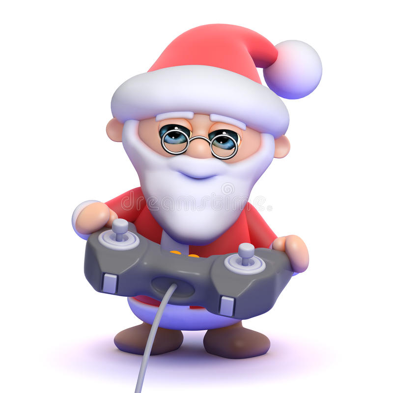 3d Santa Claus Plays A Videogame Stock Illustration