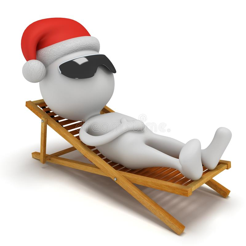 3d Santa Claus que tem um resto na sala de estar do chaise ilustração do vetor
