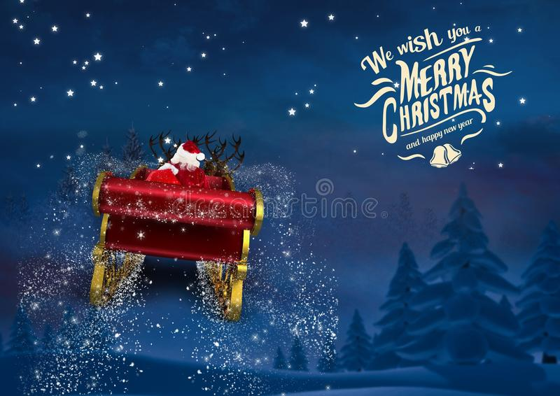 3D Santa claus riding reindeer sleigh towards the sky. At night royalty free stock photography