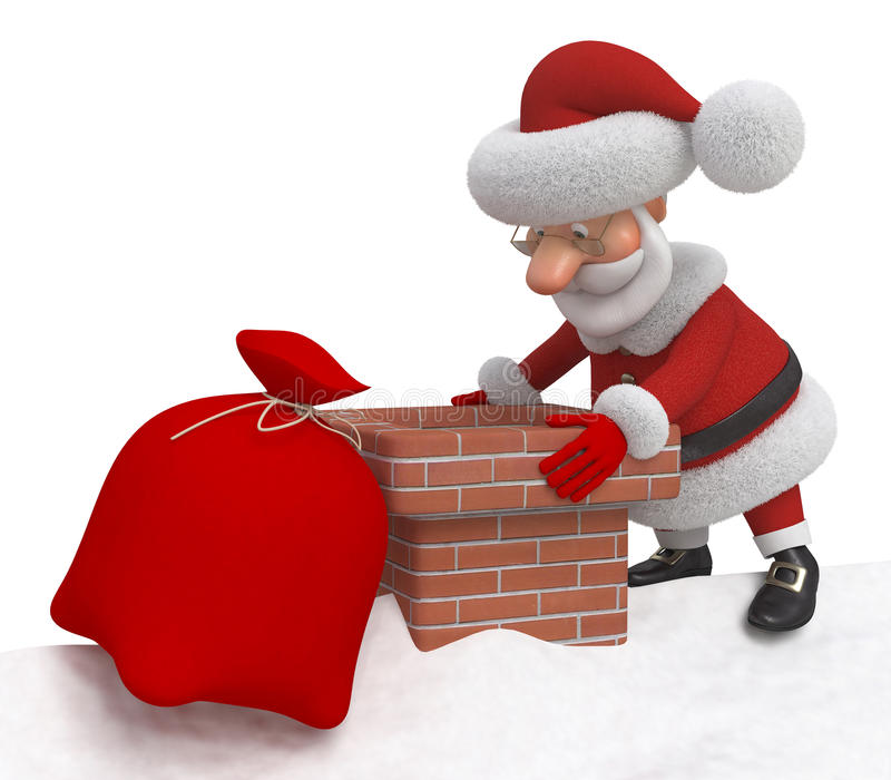 3d Santa Claus on a roof stock illustration