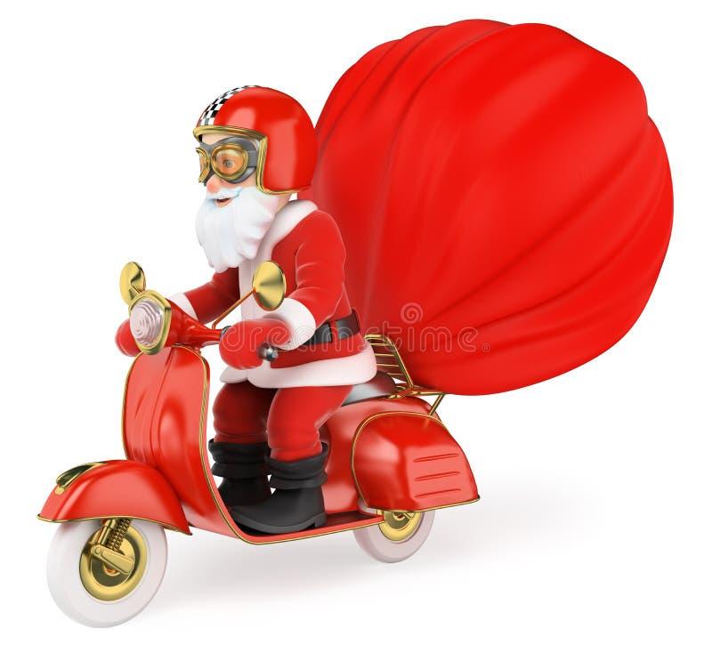 3D Santa Claus som levererar gåvor med motorcykeln vektor illustrationer