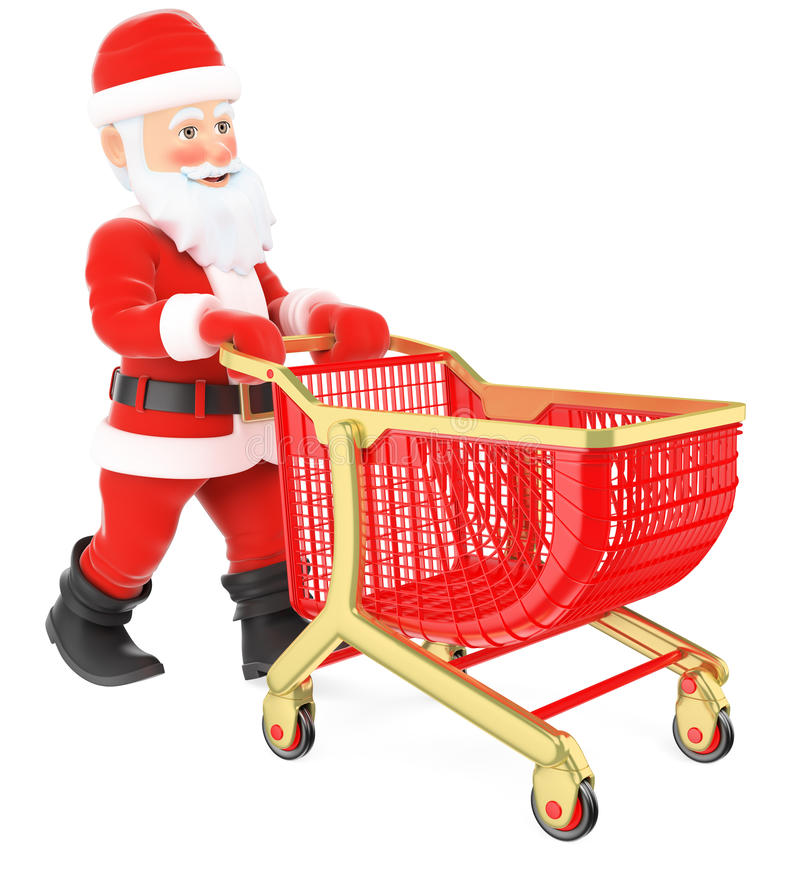 3D Santa Claus som skjuter en shoppingvagn vektor illustrationer