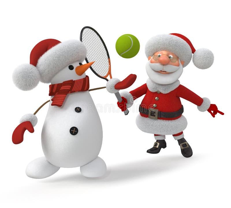 3d Santa Claus spelar tennis arkivfoton
