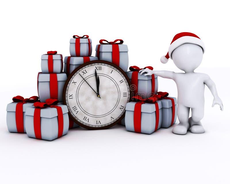 3D Santa Morph Man with clock before midnight vector illustration