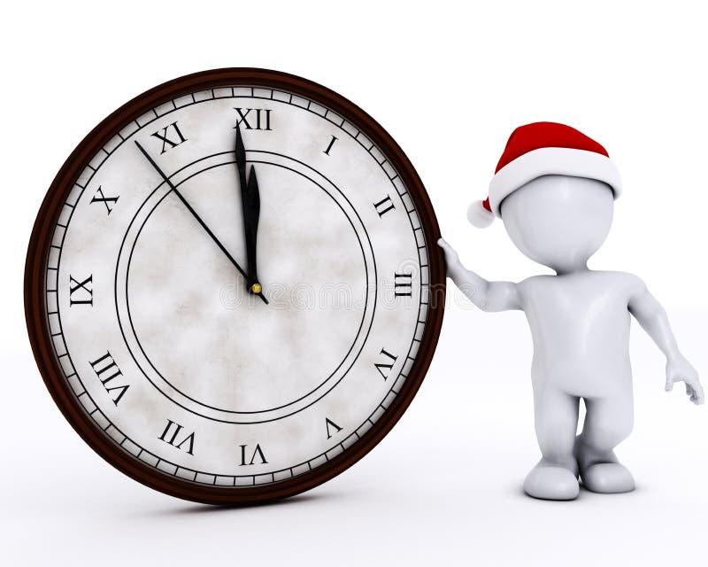 3D Santa Morph Man com o pulso de disparo antes da meia-noite ilustração do vetor