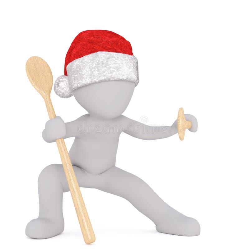 3d Santa nella posa di ninja con i cucchiai di legno illustrazione vettoriale