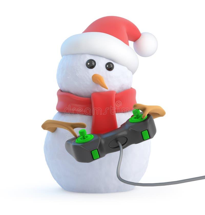 Download 3d Santa Snowman Plays A Videogame Stock Illustration - Image: 41145035