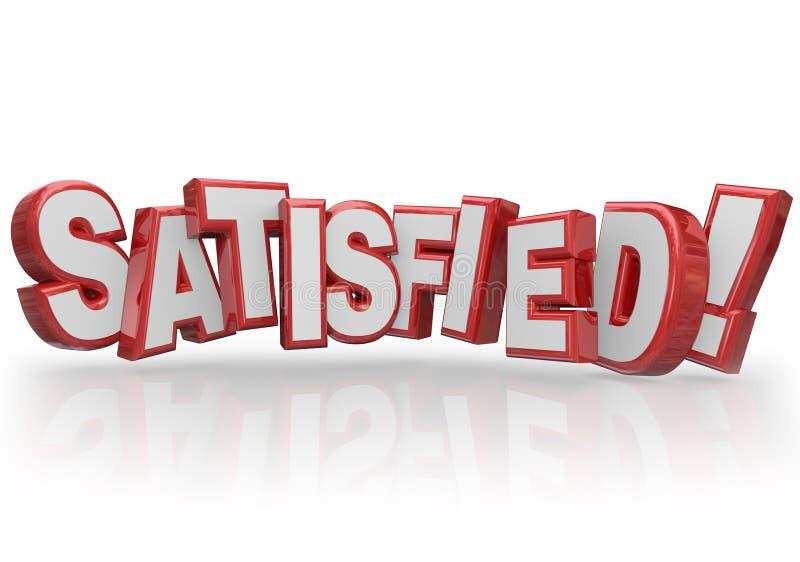 3d satisfecho pone letras a la satisfacción del cliente satisfecha feliz de la palabra ilustración del vector