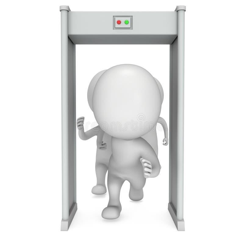 3D scanner van de metaaldetector en lopende mensen op wit stock illustratie